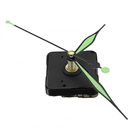 5pcs 20mm Shaft Length Green and Black Luminous Hands DIY Silent Quartz Clock Wall Movement Replacement Mechanism