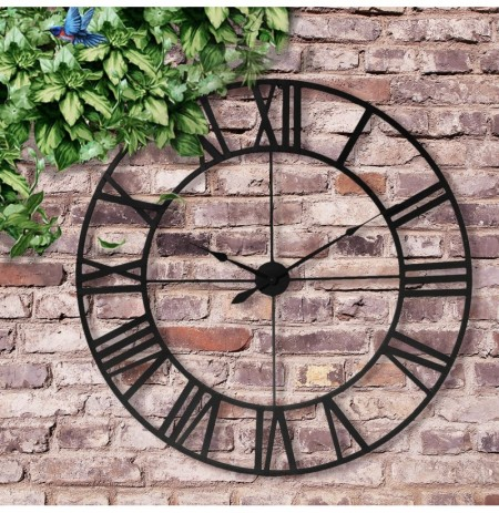 80cm Large Outdoor Garden Wall Clock Roman Numerals Giant Open Face Metal