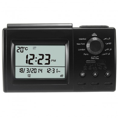 Digital Automatic Islamic Azan Muslim Prayer Alarm Adhan Orologio da tavolo nero