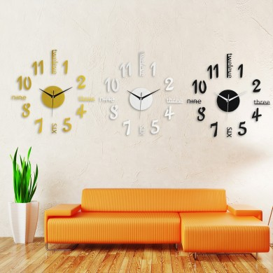 3D Large Number Mirror Wall Clock Sticker Decor For Home Office Kids Room