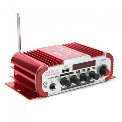 Kentiger HY600 12V Red Car and Motorcycle Dual Channel Universal Amplifier with Microphone