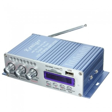 Kentiger Mini Power Amplifier HiFi Stereo MP3 FM Audio Music AMP for Car Motorcycle