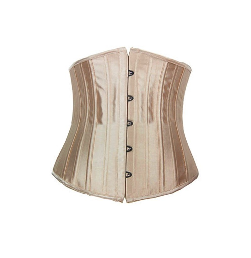 Women Satin 24 Steel Bone Training Underbust Cincher Corset Bustiers (Color: Khaki, Size: XXL) фото