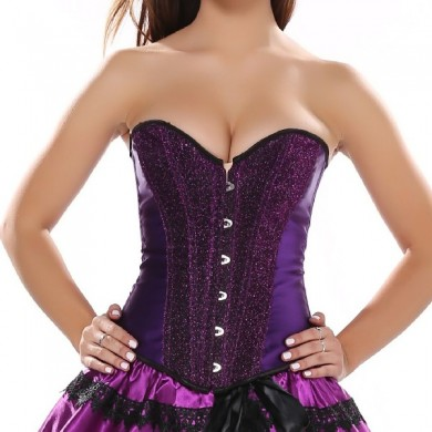Shiny Powder Steel Buckle Tie Rope Waist Training Corset